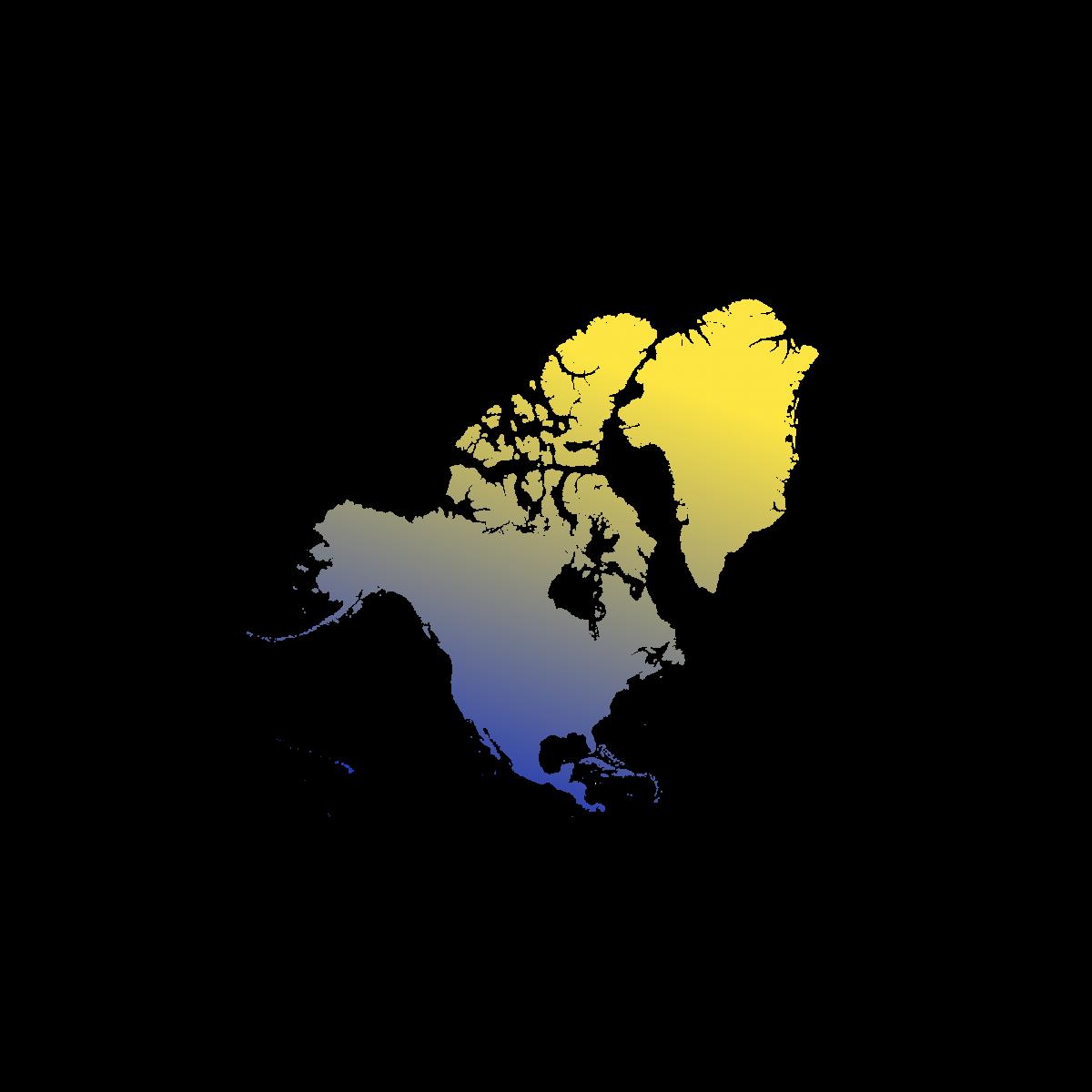 Illustration du continent Nord-Américain. Eu Coordination, agence de traduction de documents dans les langues Américaines.