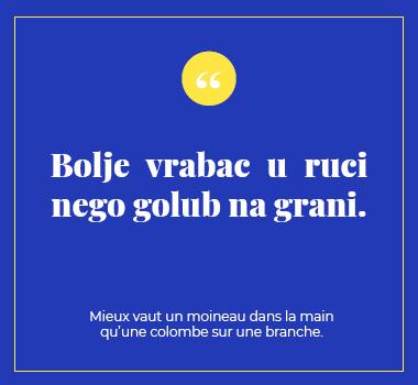 Illustration proverbe en Bosnien. Eu Coordination agence de traduction de/vers le Bosnien.