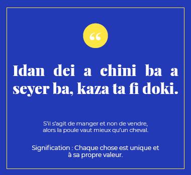 Illustration proverbe en Haoussa. Eu Coordination agence de traduction de/vers le Haoussa.