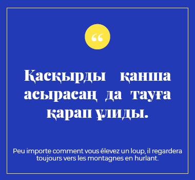 Illustration proverbe en Kazakh. Eu Coordination agence de traduction de/vers le Kazakh.