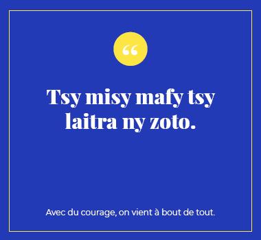 Illustration proverbe en Malgache. Eu Coordination agence de traduction de/vers le Malgache.