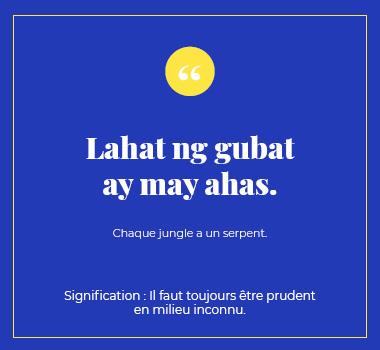 Illustration proverbe philippin. Eu Coordination agence de traduction de/vers le Philippin.