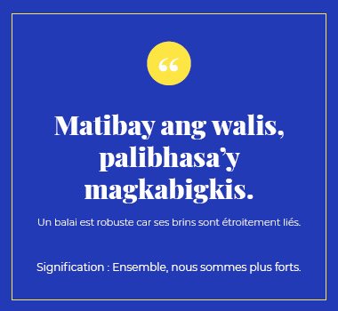 Illustration proverbe philippin. Eu Coordination agence de traduction de/vers le Philippin.