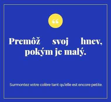 Illustration proverbe en Slovaque. Eu Coordination agence de traduction de/vers le Slovaque.
