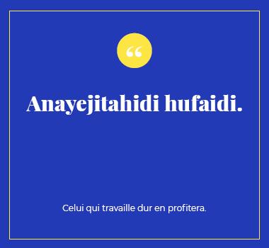Illustration proverbe en Swahili . Eu Coordination agence de traduction de/vers le Swahili.