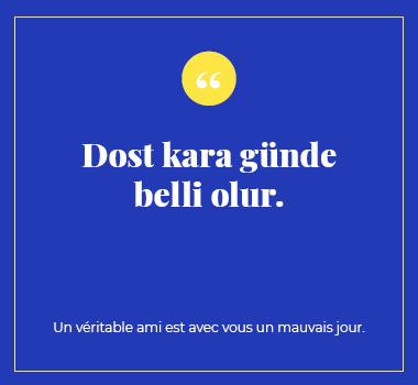 Illustration proverbe en Turc. Eu Coordination agence de traduction de/vers le Turc.